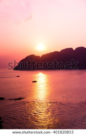 Fiery Backdrop Darkening Heavens  - stock photo
