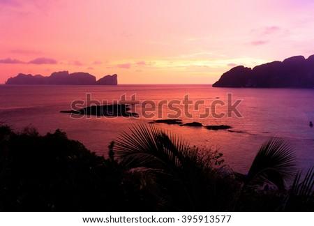 Fiery Backdrop Evening Scene  - stock photo
