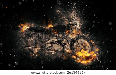 Fiery burning motorbike conceptual image with flames erupting from the wheels and frame depicting extreme sport, speed and danger over a dark background - stock photo