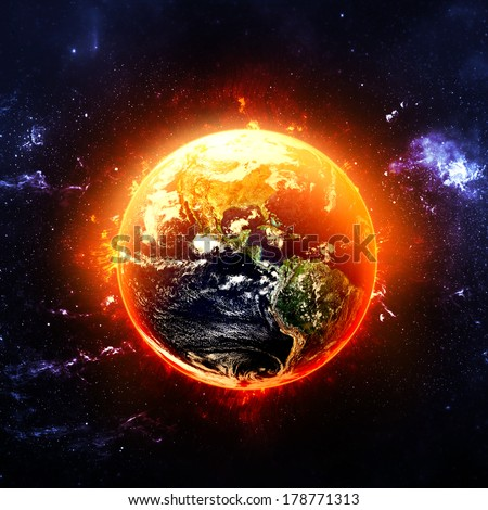 Fiery Earth - Elements of this Image Furnished by NASA - stock photo