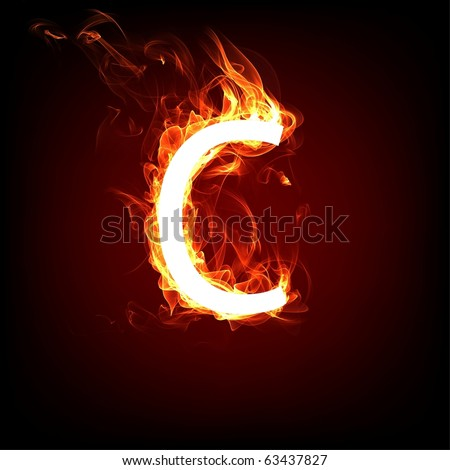 Fiery font for hot flame design. Letter C - stock photo