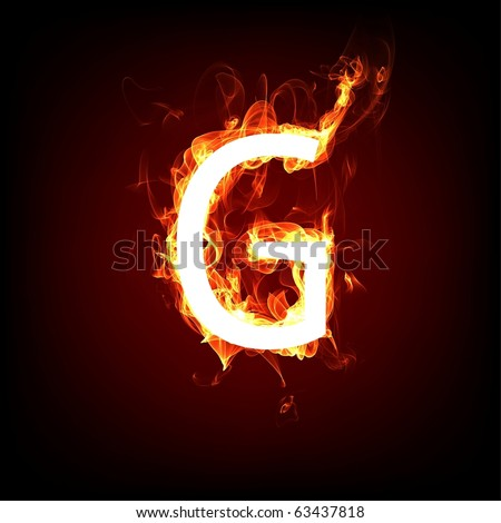 Fiery font for hot flame design. Letter G - stock photo