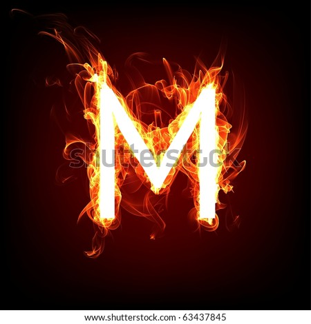 Fiery font for hot flame design. Letter M - stock photo