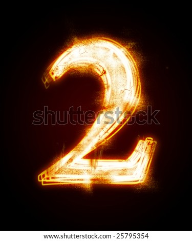 fiery font from a dust.  number two - stock photo