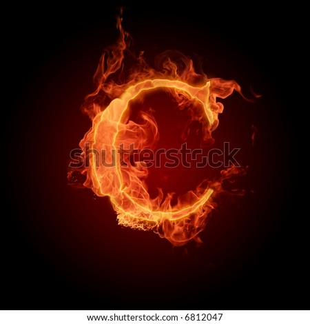 Fiery font. Letter C - stock photo