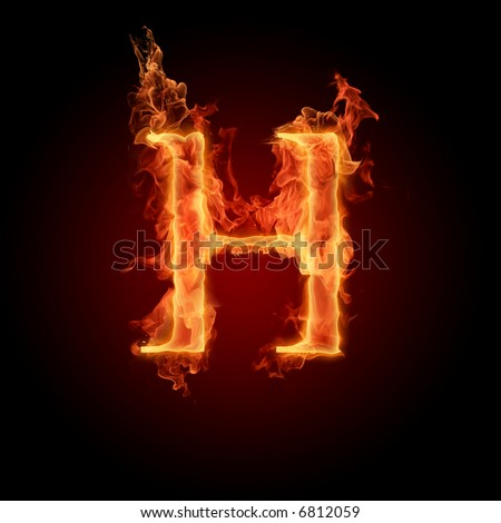 Fiery font. Letter H - stock photo
