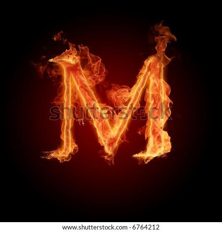 Fiery font. Letter M - stock photo