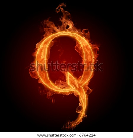 Fiery font. Letter Q - stock photo