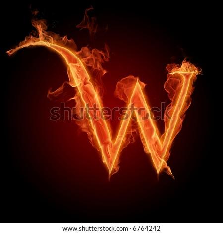 Fiery font. Letter W - stock photo