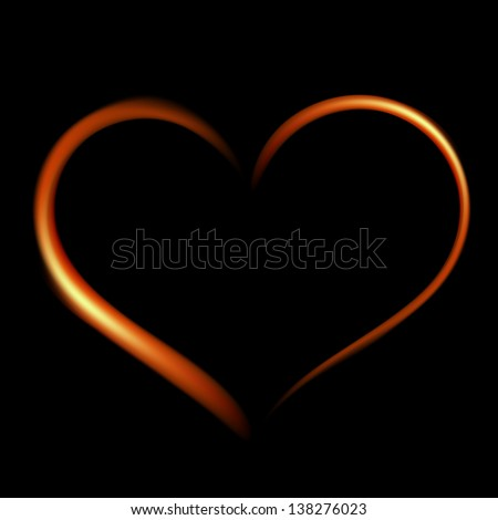 Fiery heart on a black background. Raster version - vector version in my portfolio. - stock photo