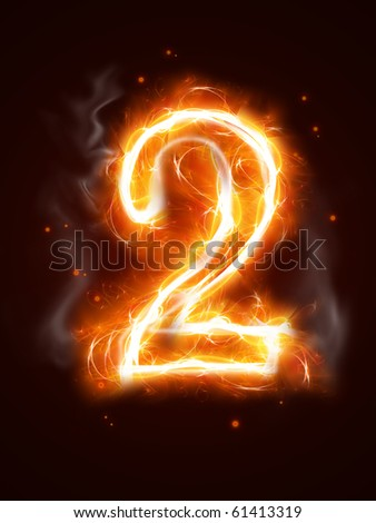 Fiery number 2 - one of the collection - stock photo