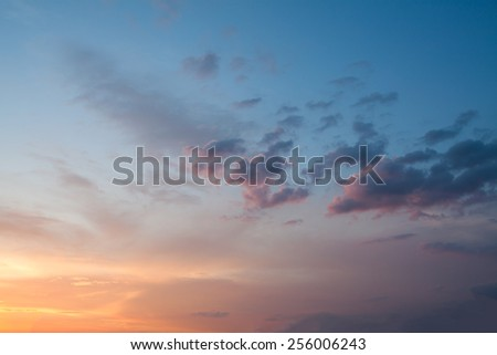 Fiery orange sunset sky - stock photo