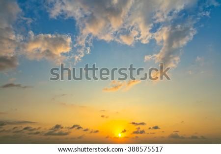 Fiery orange sunset sky. - stock photo