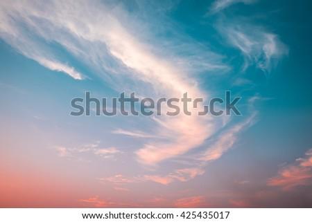 Fiery orange sunset sky - stock photo