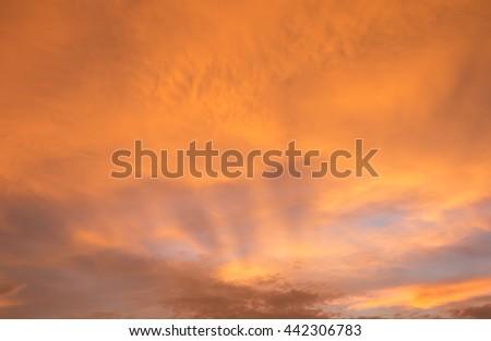 Fiery orange sunset sky. Beautiful sunset.bright sunset sky.style sunset - stock photo