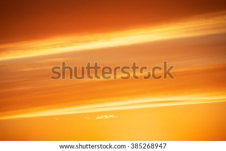 Fiery orange sunset sky. Beautiful sunset sky. - stock photo