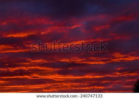 Fiery sunset sky - stock photo