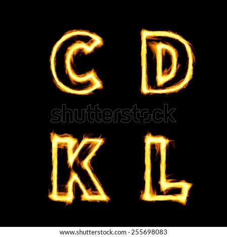fiery symbol on the black background - stock photo