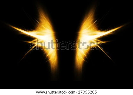fiery wings, abstract background - stock photo