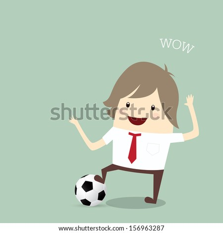 fifa world cup 2014 businessman happy is playing soccer relax idea and inspiration, business concept - stock photo