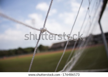 fifa world cup close up soccer goal net at the stadium sky background - stock photo