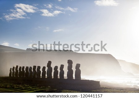 Fifteen standing moai in Easter Island on a sunny day - stock photo