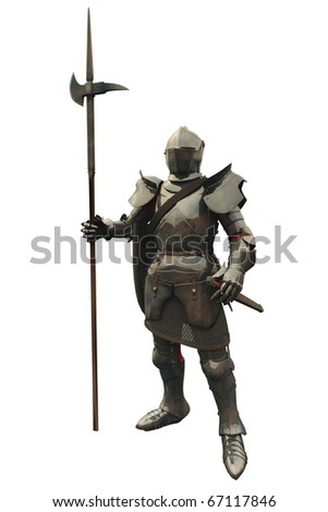 Fifteenth Century late Medieval Knight in Northern Italian Milanese Armour, 3d digitally rendered illustration - stock photo