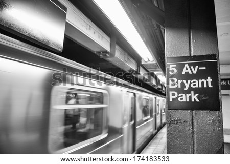 Fifth Avenue - Bryant Park subway station interior, Manhattan. - stock photo