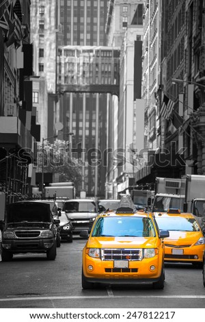 Fifth avenue neighborhood yellow cab taxi 5 th Av New York Manhattan USA - stock photo