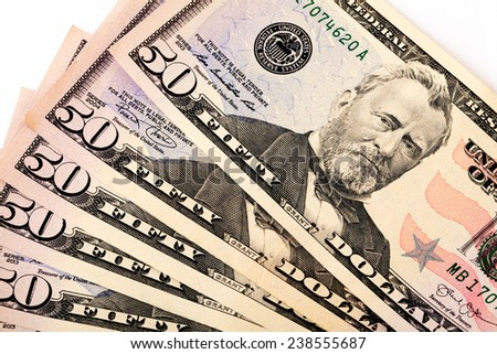 Fifty-dollar banknotes - stock photo