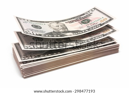 Fifty dollar banknotes closeup (isolated and clipping path) - stock photo