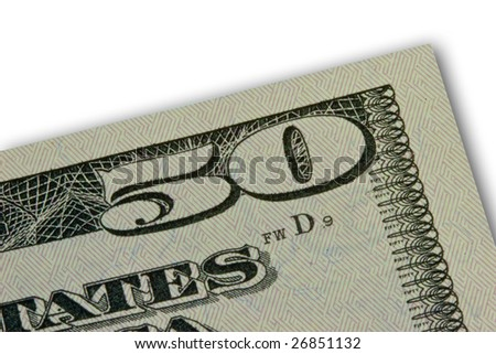 Fifty dollar bill detail - stock photo