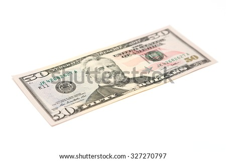 Fifty dollar bill isolated on a white background - stock photo