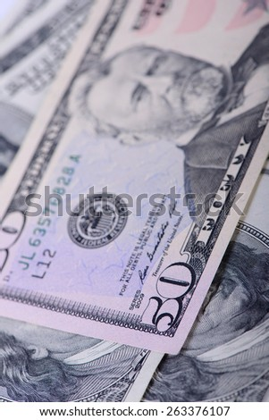 fifty dollars banknotes as a background close-up - stock photo