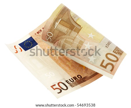 fifty euro banknote,isolated on white with clipping path. - stock photo