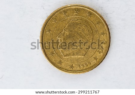 fifty Euro cent Coin with Belgium backside used look - stock photo