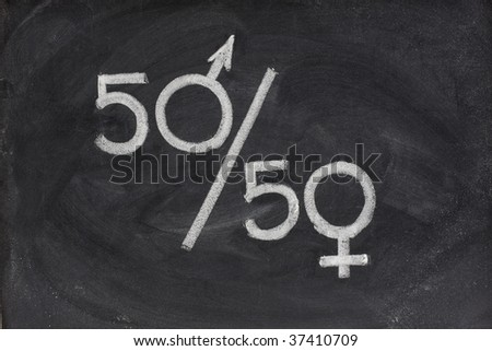 fifty percent - concept of gender equal opportunity or representation in political and public life sketched with white chalk on blackboard - stock photo
