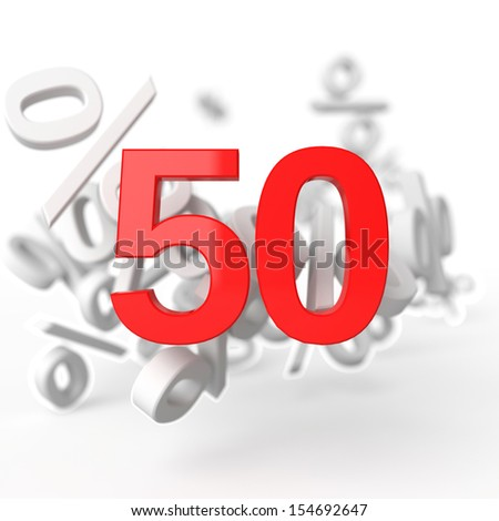 Fifty percent. 3d render illustration on white background - stock photo