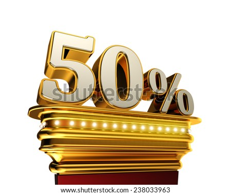 Fifty percent figure on a golden platform with brilliant lights over white background  - stock photo