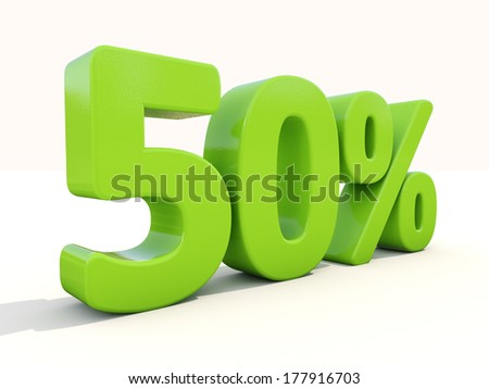 Fifty percent off. Discount 50%. 3D illustration. - stock photo