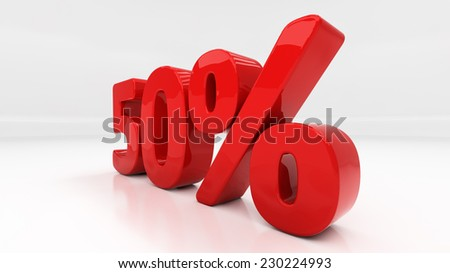 Fifty percent off. Discount 50.  Percentage. 3D illustration - stock photo
