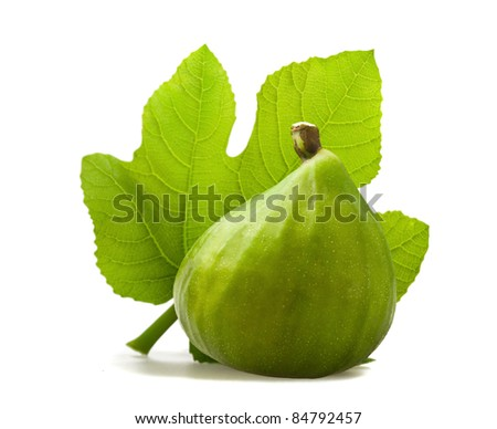 Fig with leaf isolated on white - stock photo