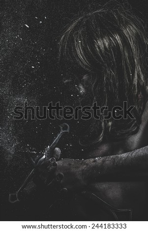 fight, medieval soldier with huge steel sword - stock photo