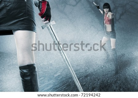 Fight of two young seductive fit woman in mist outdoor - stock photo