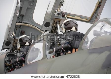 fighter plane's cockpit - stock photo
