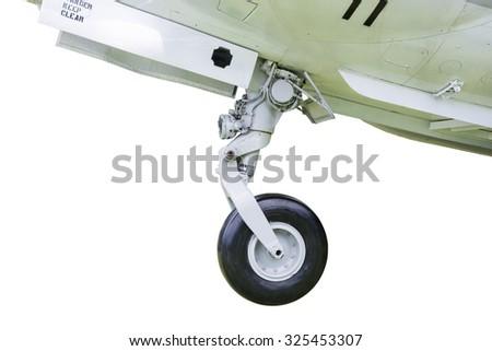 fighter prepare landing - stock photo
