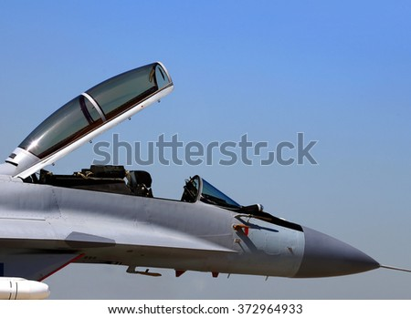 Fighters cabin of the pilot in the opened position  - stock photo