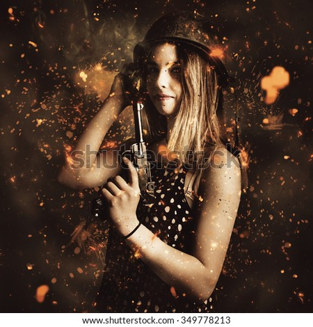 Fighting combat army girl preparing for creative battle with vintage pistol in a creative burst of explosive sparks and debris. Killer beauty woman in military pin-up fashion - stock photo