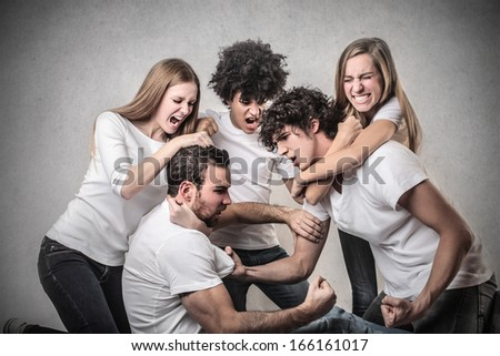Fighting Hard - stock photo