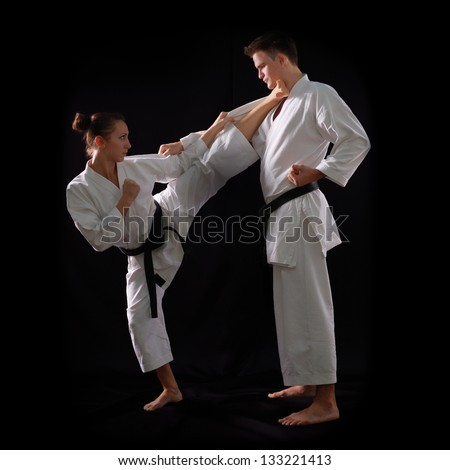 Karate Woman Stock Photos  Illustrations  and Vector ArtKarate Woman Beats Man